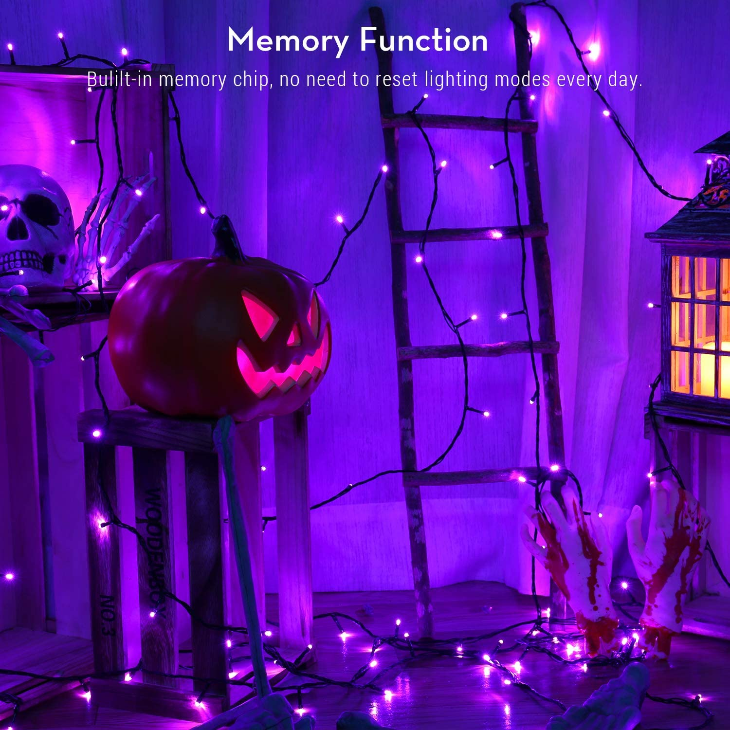 BrizLabs Purple Lights, 78.74ft 240 LED Halloween Lights, Plug in Halloween Lights String Connectable, 8 Modes Outdoor Halloween String Lights Waterproof for Indoor Outside Window Spooky Decoration: Home & Kitchen