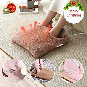 Luonita Foot Warmer Electric Feet Heated Cushion Warmer Winter Foot Heating Pads Warming Foot Massager Faux Fur Plush Ultra Soft Flannel Heat Body Warmer Cold Weather Xmas Gifts for Adults
