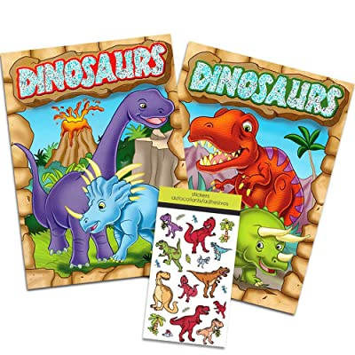 Dinosaur Coloring Book Super Set Kids Toddler -- 2 Books and Over 50 Dinosaur Stickers: Toys & Games