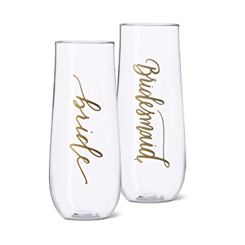 70b467ab92a 11 Piece Set of Bridesmaid and Bride Durable Plastic Stemless Champagne  Glasses for Bachelorette Parties,