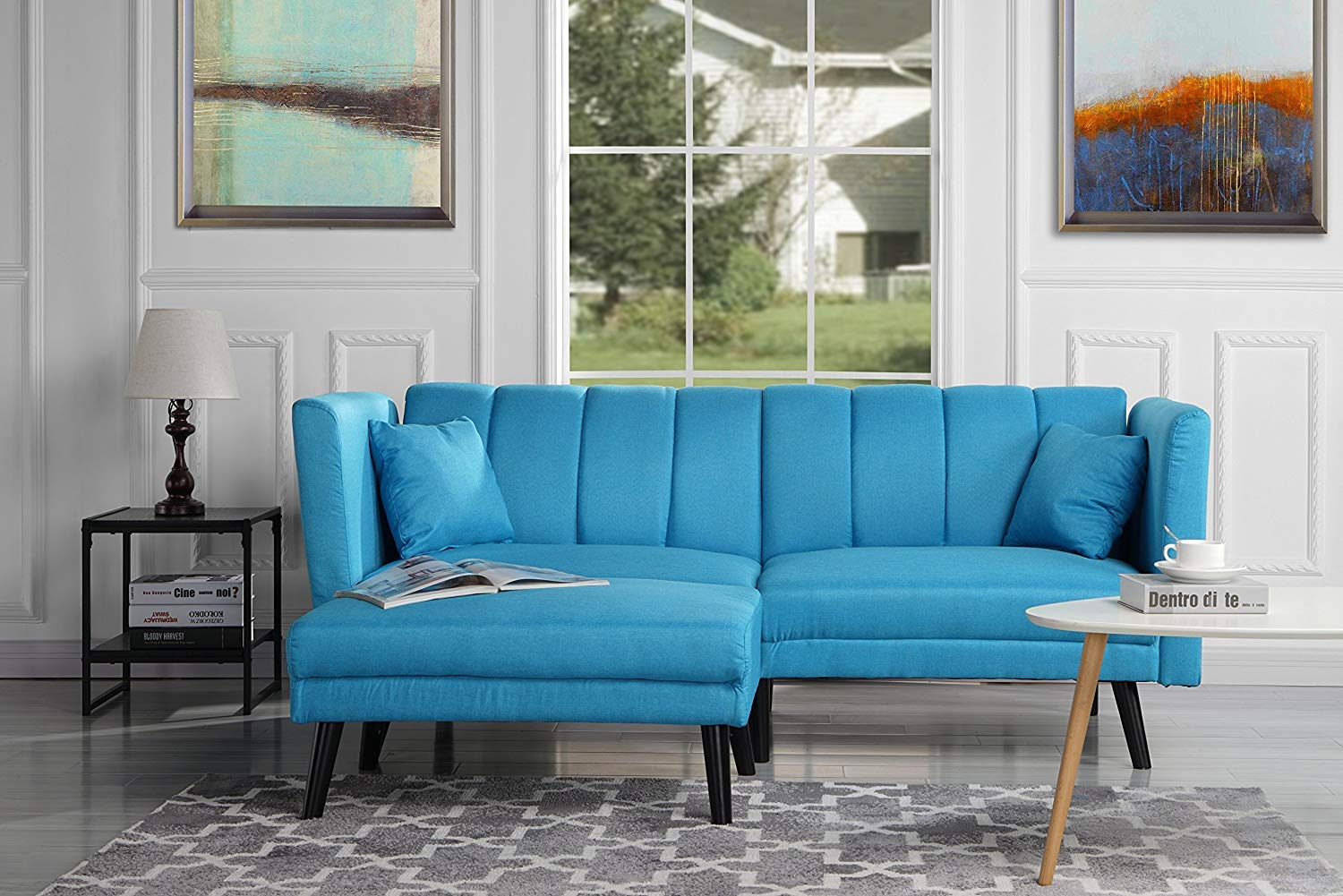 Futon Sleeper Sofa Bed Couch, Convertible Sky Blue Futon Splitback Sofa with Chaise (Sofa to Bed Feature) Modern Futon Sofa Beds L-Shaped Lounger Futon Sofa Couch for Small Space Living by Casa AndreaMilano