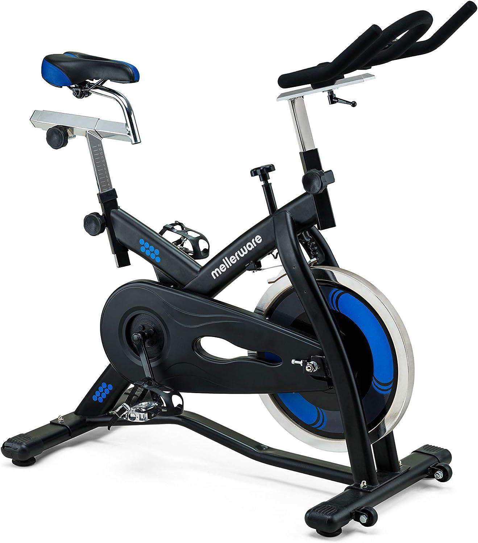 Mellerware - Bicicleta Estatica spinning - Resistencia ajustable con Pantalla LCD y pulsómetro.Sillín y manillar regulables. spinning bike
