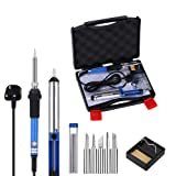 GHB 60W Soldering Iron Kit Electronics Welding Iron with Adjustable Temperature and 5 Tips (6pcs Set)