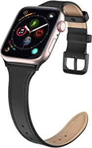 Polaland Leather Band for iWatch, Business Men iWatch Replacement Strap with Metal Buckle Compatible for iWatch 40mm (Series 6/5/4) & 38mm (Series 3/2/1) - Black
