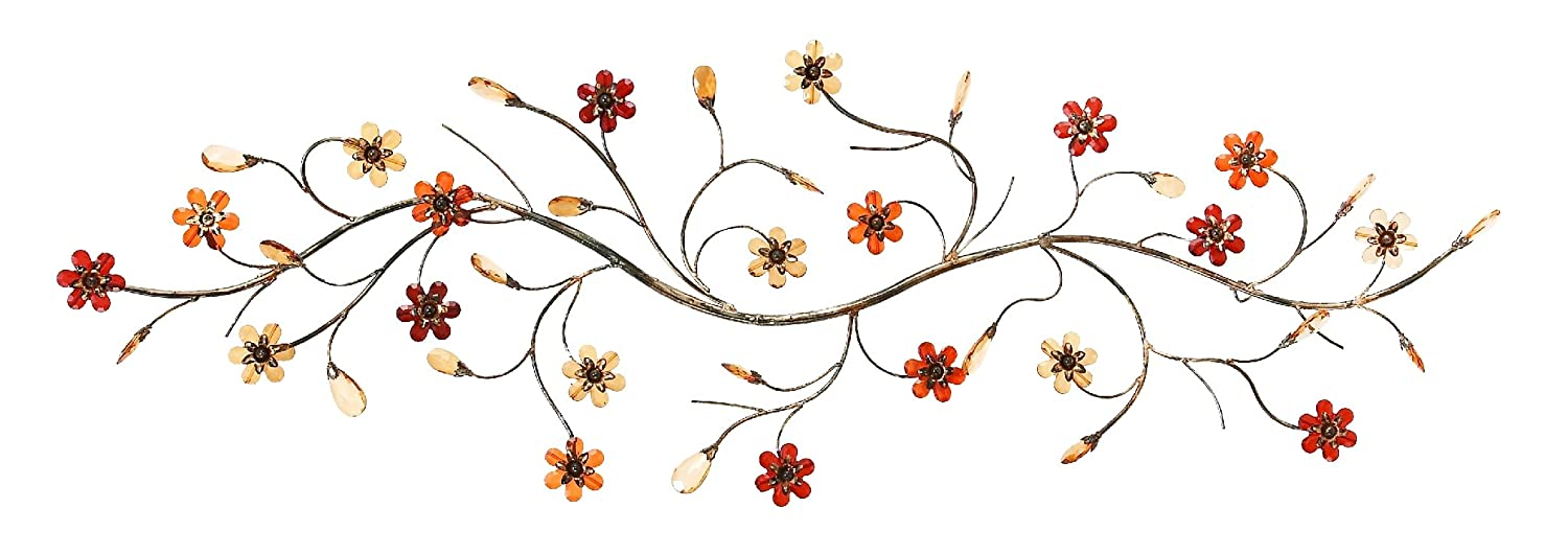 Deco 79 Metal Wall Decor with Flowers Loaded Twig