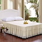 Cotton Bed-Skirt Finest Quality Long Staple Fiber Durable Comfortable Abrasion Resistant King Beige