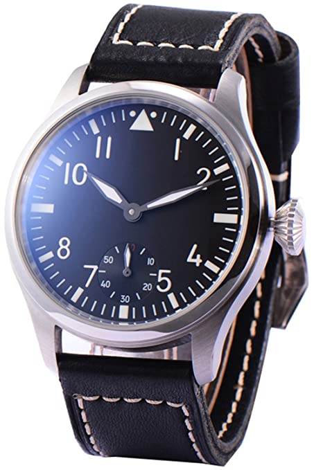 Review Men's Classic Seagull 6497 Mechanical Hand Wind Movement Army Watch With Black Leather Strap Black Dial