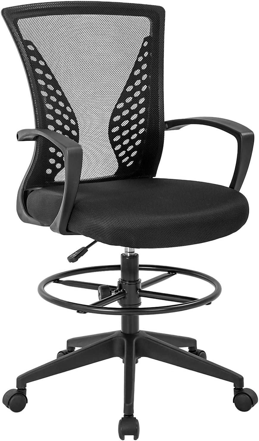 Drafting Chair Tall Office Chair Adjustable Height with Arms Foot Rest Back Support Adjustable Height Rolling Swivel Desk Chair Mesh Drafting Stool for Standing Desk Adults(Black)