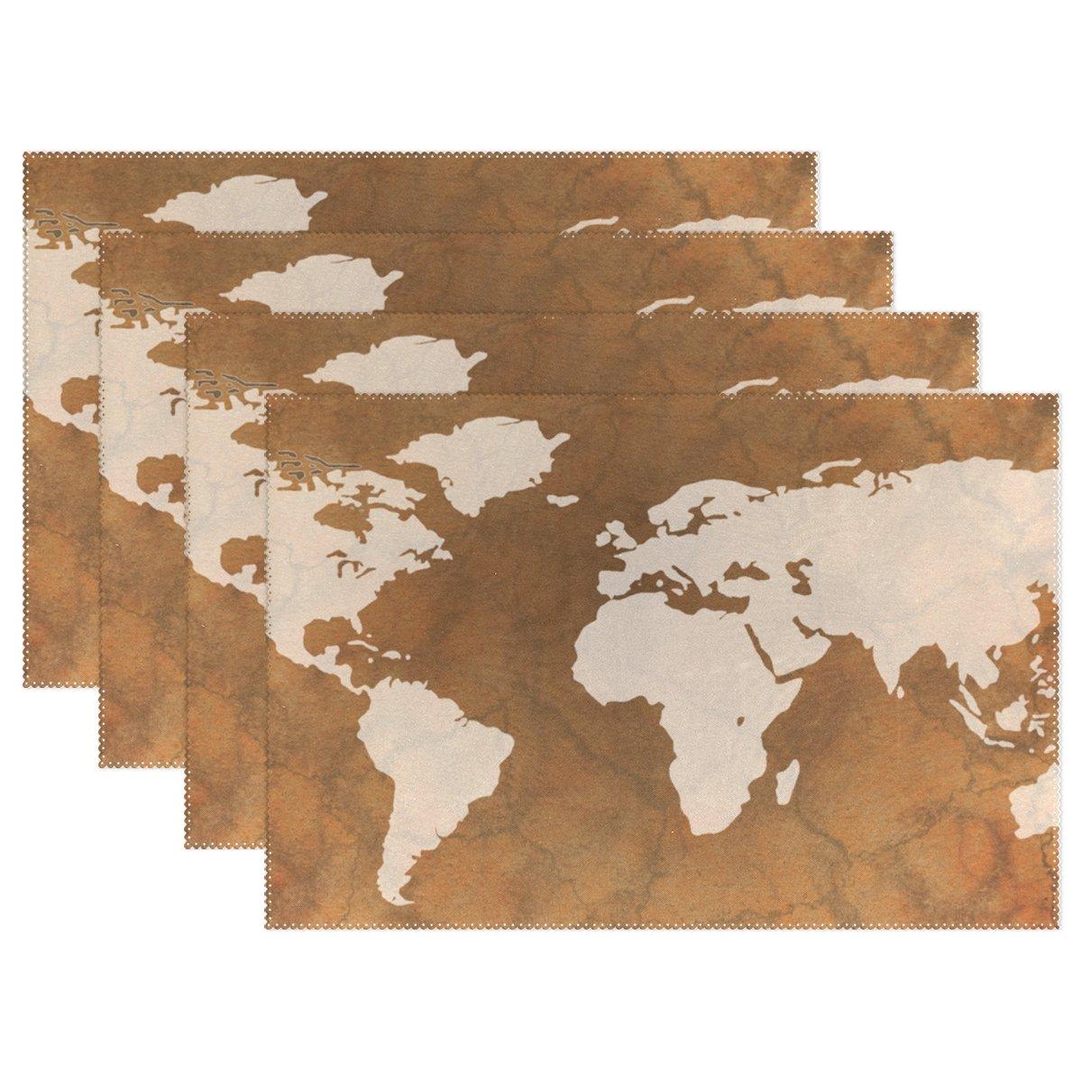 ワールドマップ印刷、プレースマットalirea耐熱プレースマット汚れ防止滑り防止洗濯可能ポリエステルテーブルマット非スリップEasy Cleanプレースマット、12