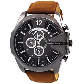 Malloom® hombres la moda de lujo analógico deporte Caso de acero cuarzo marcar cuero de la PU reloj de pulsera Marrón + Negro: Amazon.es: Relojes