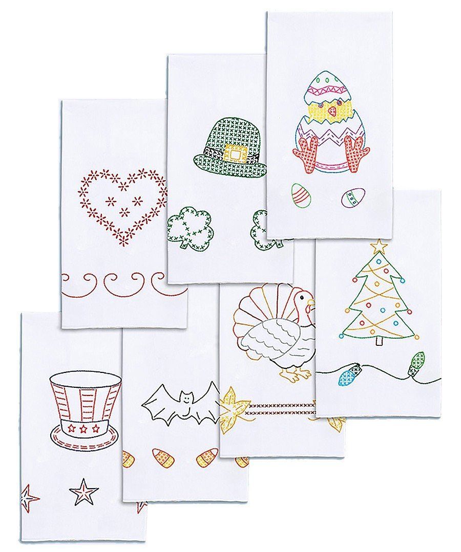 Jack Dempsey Stamped Decorative Hand Towel, 15 by 30-Inch, White, Holidays of The Year, Set of 7