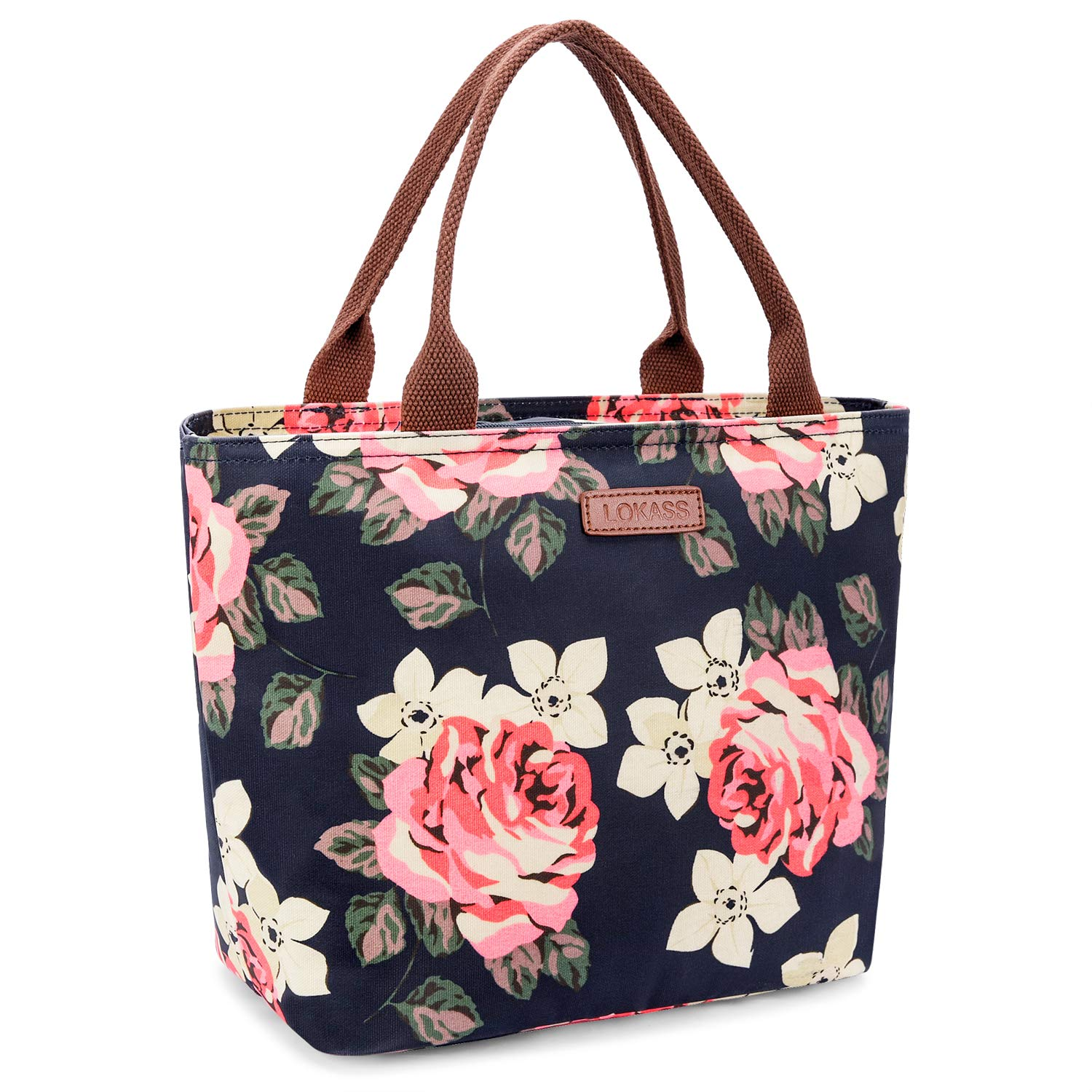LOKASS Lunch Bag Cooler Bag Women Tote Bag Insulated Lunch Box Water-resistant Thermal Lunch Bag Soft Leak Proof Liner Lunch Bags for women/Picnic/Boating/Beach/Fishing/School/Work (Peony) BBGO