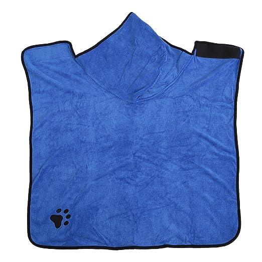 Mascotas Perros Gatos Súper Suave Absorbente Toalla de Baño Manta de Secado con Capucha(XL-Blue): Amazon.es: Productos para mascotas