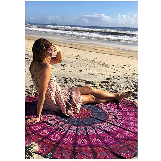 Toalla playa redonda toalla mandala gigante MIJIU estera de ...