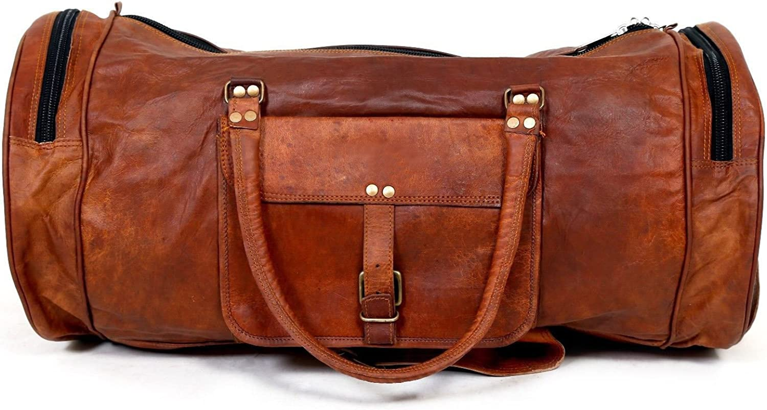 Brown 88 Handcrafted Exports Vintage Leather Duffel Round Shoulder Bag
