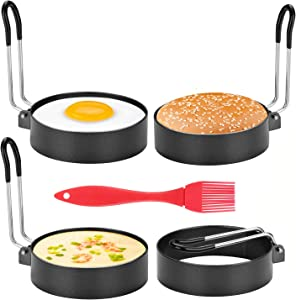 4 Pack Egg Rings, Professional Egg Cook Ring, Stainless Steel Round Egg Rings with Oil Brush Non Stick Egg Ring Mold Shaper Circles For Fried Egg Muffin Sandwiches