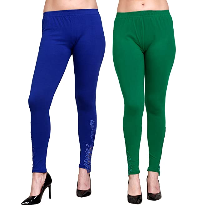 f3c5b367dcaf7 Livener Designer Peacock Patch Ankle Length Leggings for Women (Blue &  Green Color - XL): Amazon.in: Clothing & Accessories