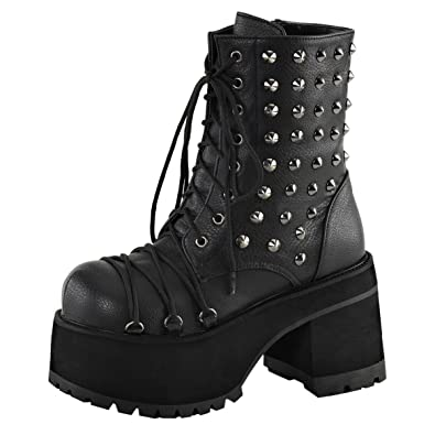 Womens Studded Combat Boots Platform Shoes Ankle Boots Lace Up 4 Inch Heels