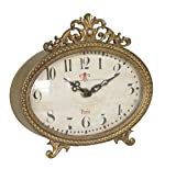 "NIKKY HOME Pewter Vintage Table Clock 6.5"" x"