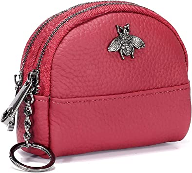 Red Women/'s Leather Compact Zippered Coin Purse with Key Ring