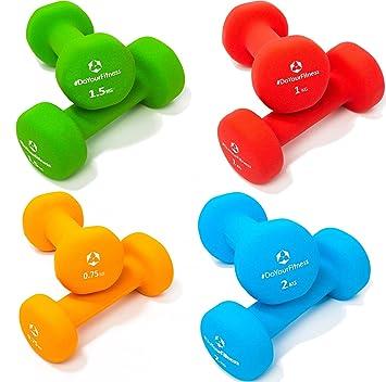 8x de Pesas de neopreno »Peso« / Mancuernas disponibles en diferentes pesos y colores / (2x0,75kg, 2x1kg, 2x1,5kg,2x2kg) : Amazon.es: Deportes y aire libre