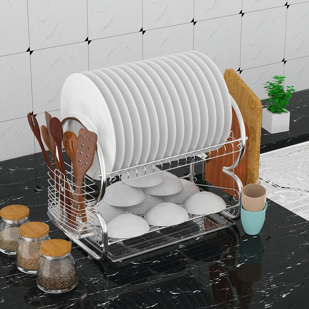 Stainless Steel Dish Drying Rack with Drain Board 2-tier Dish Drainer Rack (Black)