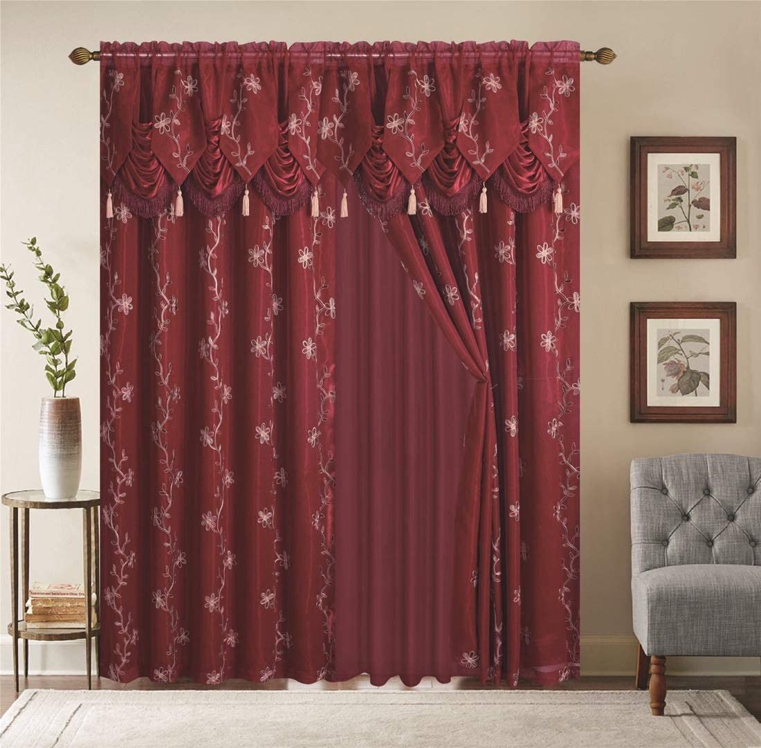 Shaklinen Window Curtains 2 Panel Set Luxury Red Burgundy Taupe Gold with Valance, Sheer, Backing Each Panel 54 x84 for Living Room, Bedroom, Grommet Drapes Linda Collection Burgundy