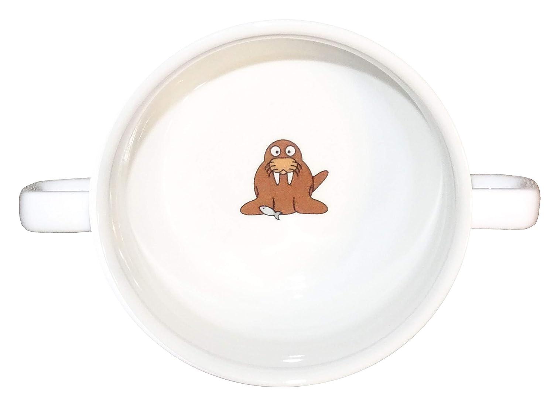 スープボウル13、1個、Walrusスープボウルスモールベビー子供キッズ、下、非表示メッセージ、秘密メッセージ、動物、Arctic、魚、子供、Walrus、磁器   B06XBYY7K5