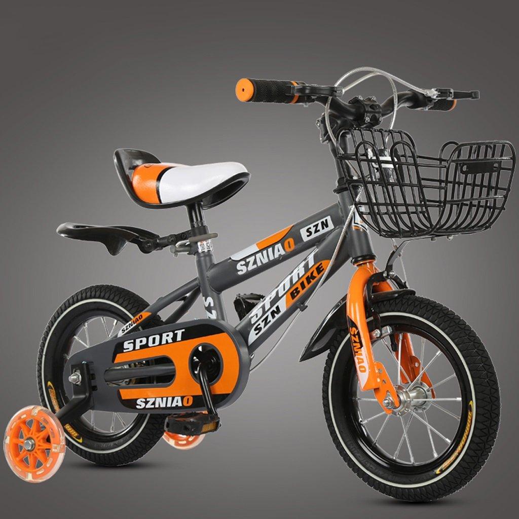 子供のマウンテンバイク18インチ子供の自転車6-9男性と女性のベビーベビーカー高炭素鋼フレーム、オレンジ B07D1JT4ZV