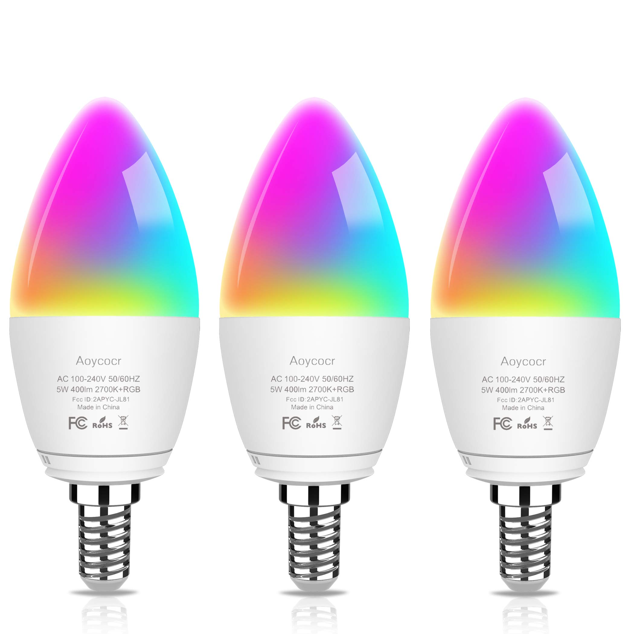 Smart LED Candalabra Light Bulbs - Aoycocr 5W 400 Lumens E12 Ceiling Fan Light Bulb, Tunable White 2700K-6500K & RGB Candle Bulb - Compatible with Alexa Google Home for Home Festival Decor (3 Pack)