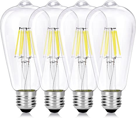 Imagen deWEDNA - Bombilla LED Edison de 6 W, E27, vidrio, 4 Pack, E27 6.00W 220.00V           [Clase de eficiencia energética A+]
