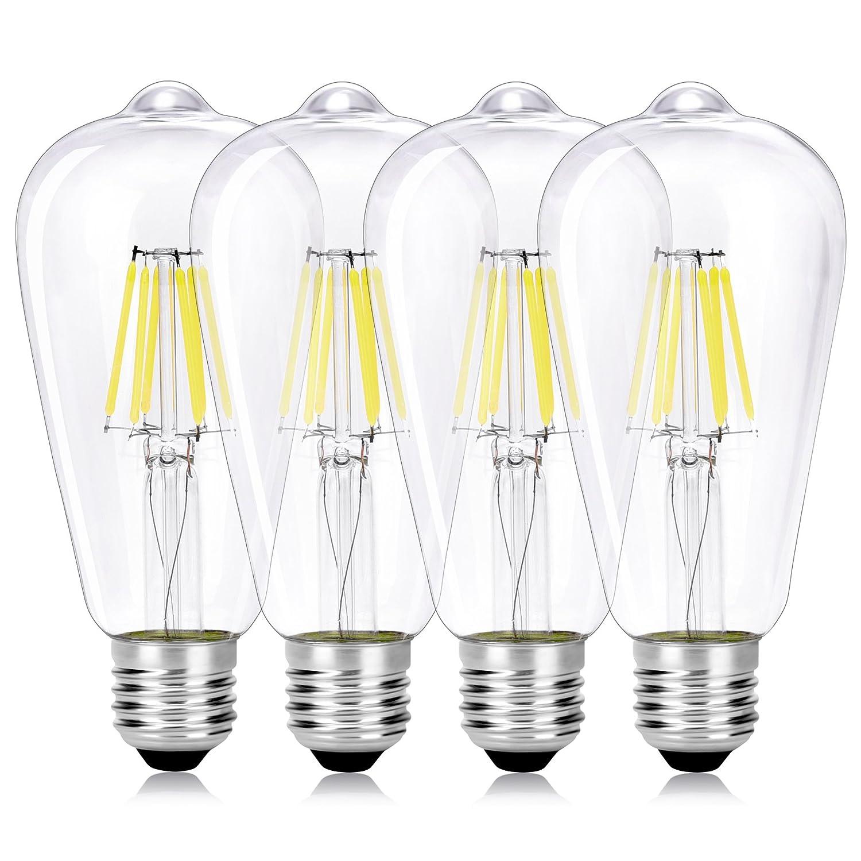 Wedna 4 Piezas Bombilla decorativa LED con filamento, ST64 E27 6 W Edison Bombillas, equivalente a 60 W, estilo vintage, No regulable, 6000K Blanco frí o 6000K Blanco frío