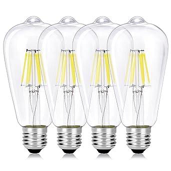 WEDNA - Bombilla LED Edison de 6 W, E27, vidrio, 4 Pack,