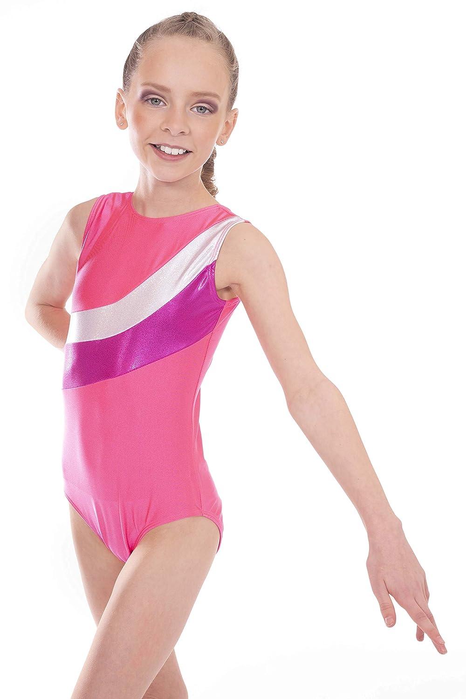 Vincenza Dancewear 'Shimmer' Girls Short Sleeved (Sleeveless) Leotard for Gymnastics