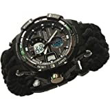 Survival Gear Paracord Bracelet Watch With Compass 2 Interchangable Straps Compass Whistle Flint Fire Starter Scraper
