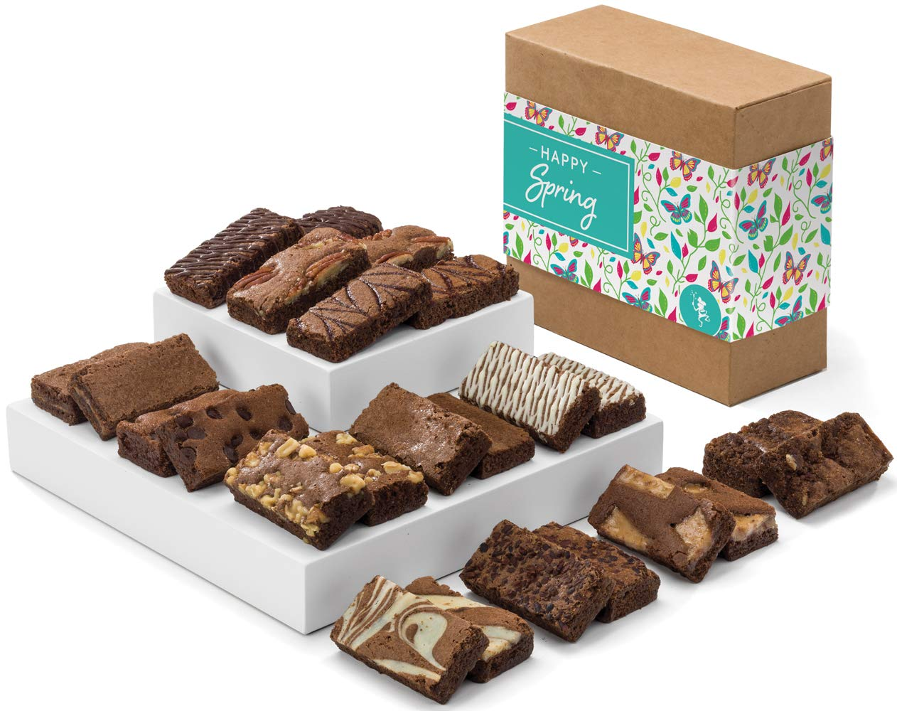 Fairytale Brownies Spring Sprite 24 Gourmet Chocolate Food Gift Basket - 3 Inch x 1.5 Inch Snack-Size Brownies - 24 Pieces - Item CR224SP