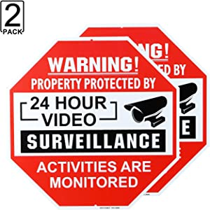 METERIO Video Surveillance Sign 2 Pack, Aluminum No Trespassing Metal Reflective Warning Sign, UV Protected and Waterproof, Indoor or Outdoor Use for Home Business CCTV Security Camera, 12×12 inches
