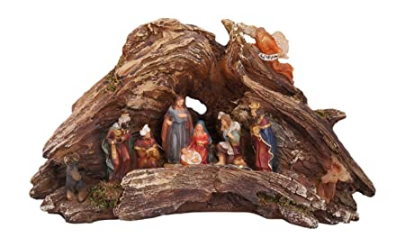 One Holiday Way Stunning Lighted Wood Knot Manger Tabletop Christmas Nativity Scene