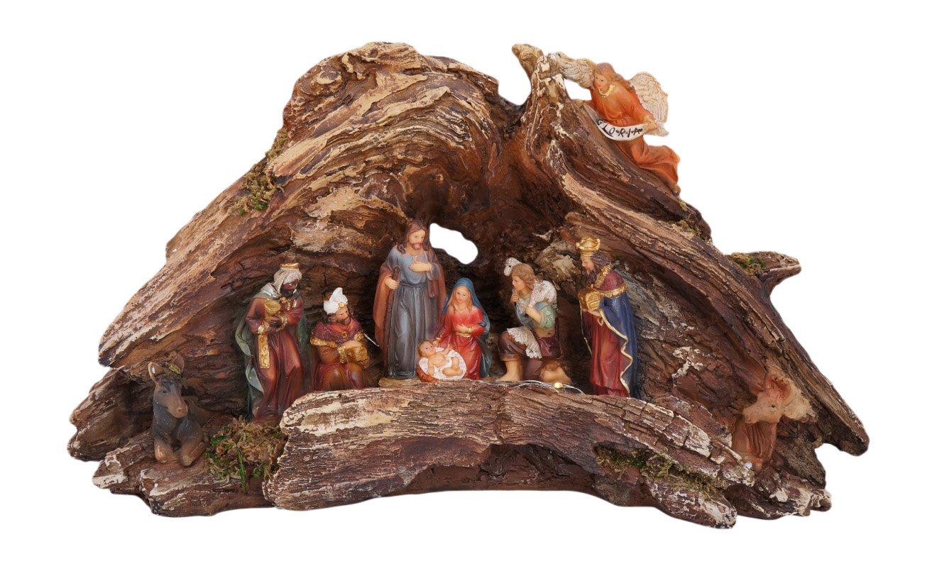 Stunning Lighted Wood Knot Manger Tabletop Christmas Nativity Scene