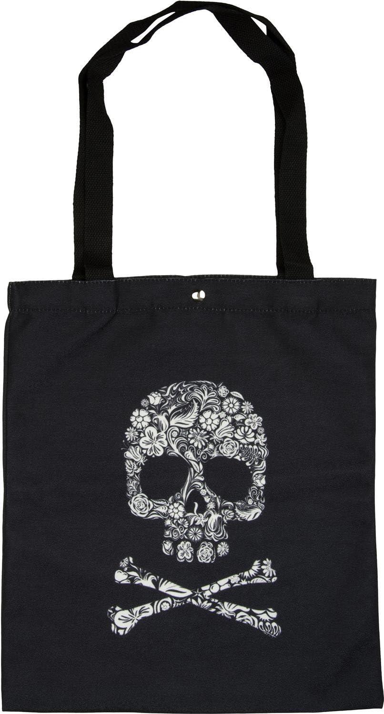 borsa da trasporto styleBREAKER borsa in tessuto con stampa a teschio unisex 02012194 colore:Nero borsa da shopping chiusura a clip borsa