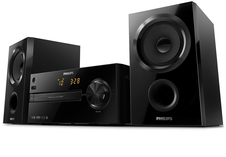 Philips BTM1560/12 - Microcadena Bluetooth, CD, USB, Radio, Potencia de 30 W, con Sonido Envolvente y Alarma