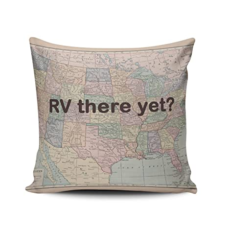 ZeDae Personalized Rv There Yet Camper Square Pillowcases Royal Decorative Throw