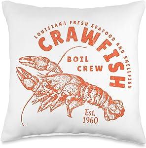 The Cajun & The Crawfish Crawfish Crew Retro Louisiana Cajun Seafood Gift Throw Pillow, 16x16, Multicolor