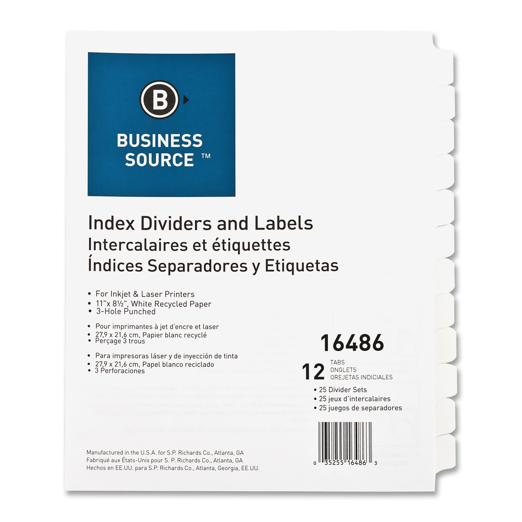 Business Source Customize 12-Tab Index Dividers, 25 Sets (16486) by Business Source