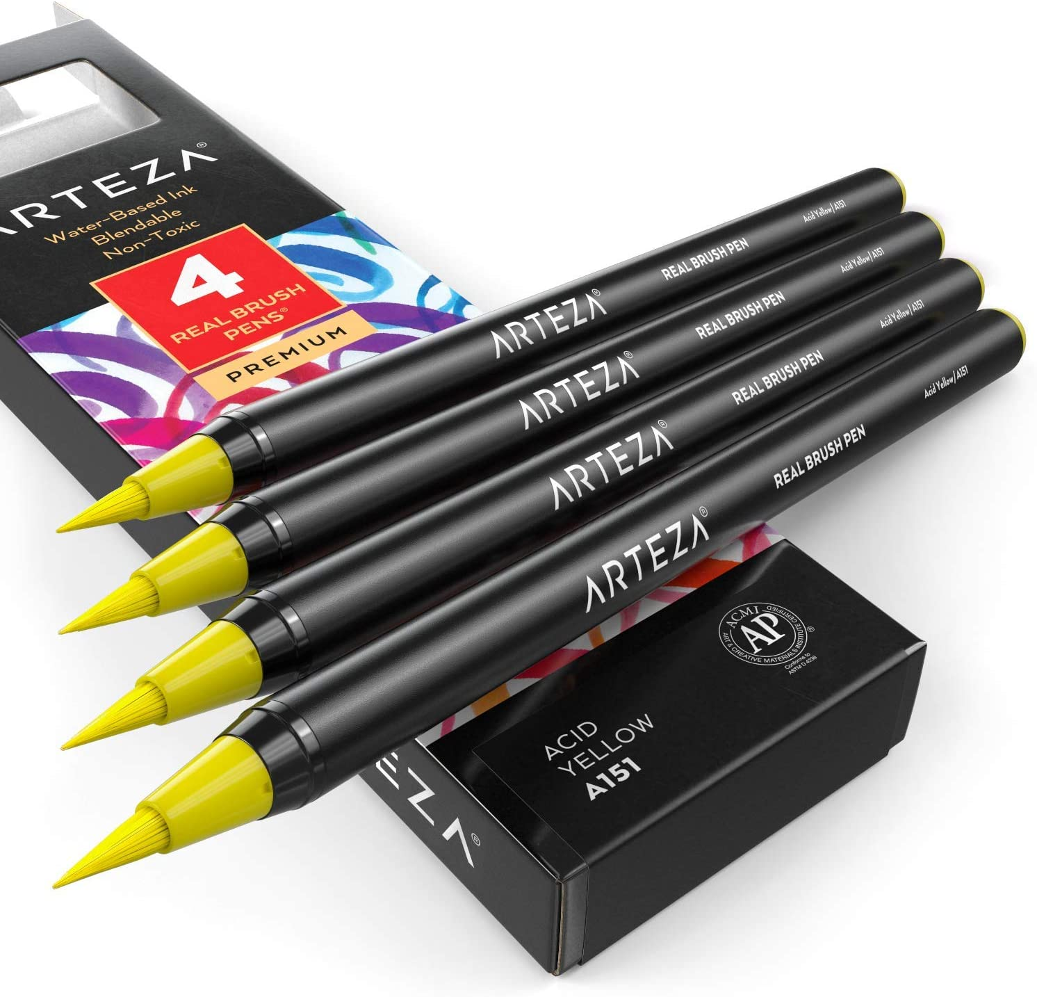 ARTEZA Real Brush Pens (A151 Acid Yellow) Pack of 4, for Watercolor Painting with Flexible Nylon Brush Tips, Paint Markers for Coloring, Calligraphy and Drawing