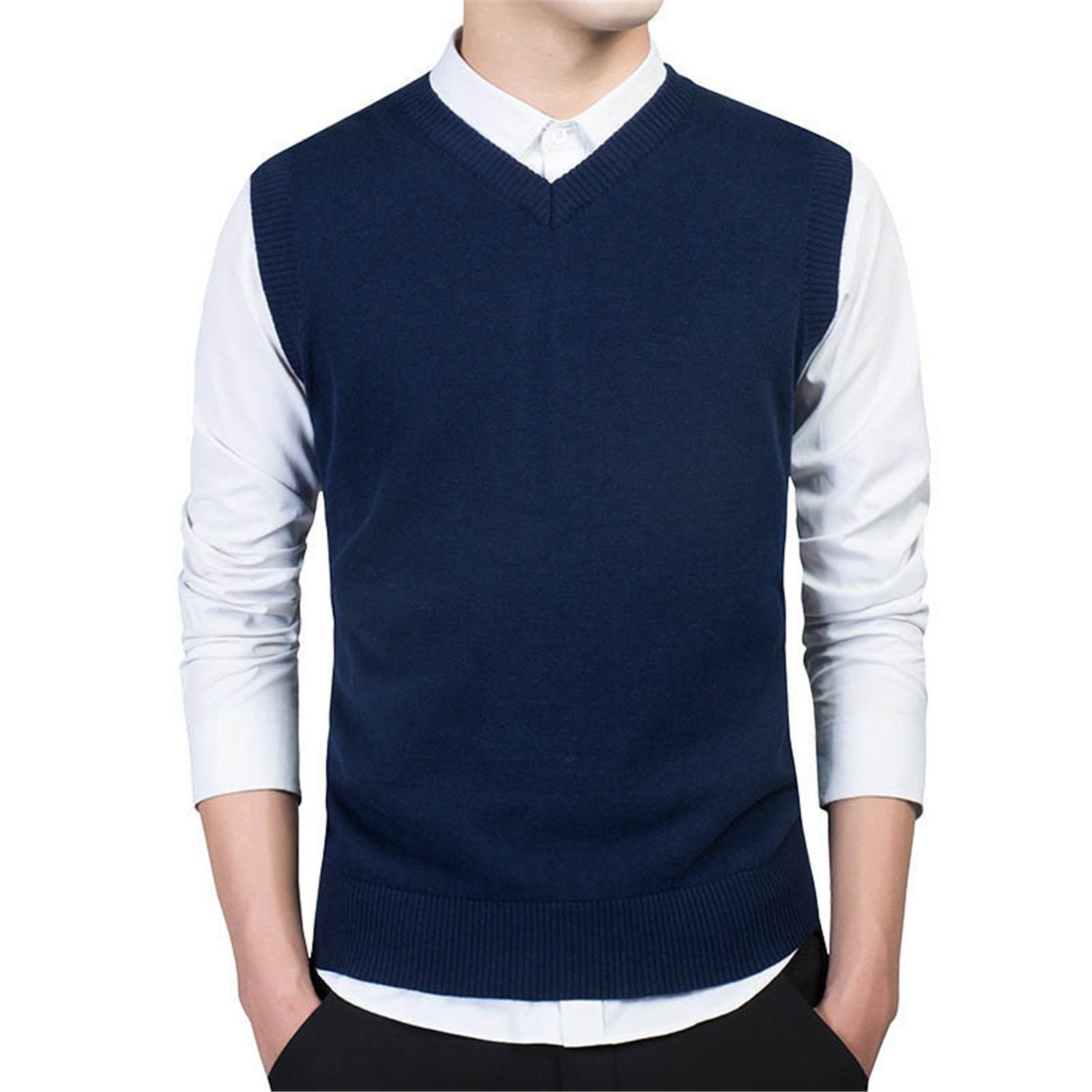 96c5792621 B dressy Handsome and Silm Pullover Sweater Men Autumn V Neck Slim Vest  Sweaters Sleeveless Men s Warm Sweater Cotton Casual M-3XL Light Grey  7789XXX-Large ...