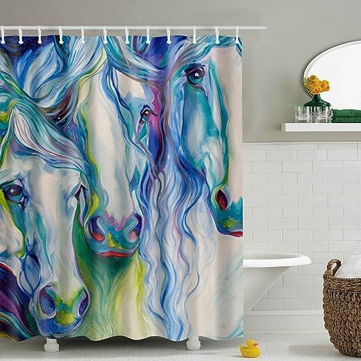 Art Horse Bathroom Shower Curtain Liner Waterproof Bathroom Fabric 12 Hook Mats