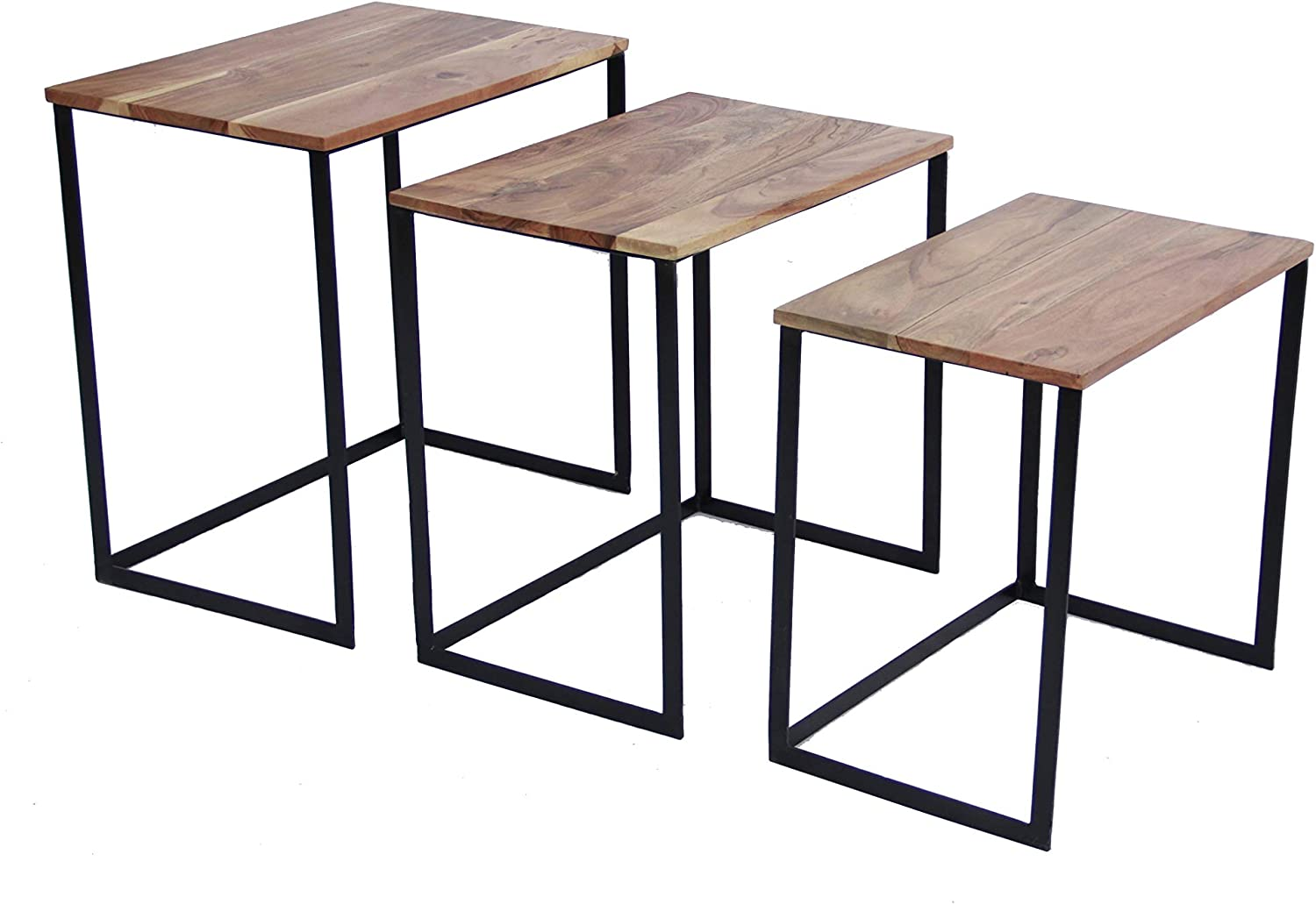 Set of 3 Classic Iron /& Wood Nesting Table Brown