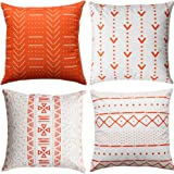 WLNUI Set of 4 Orange Decorative Pillow Covers 18x18 Inch Boho Modern Throw Pillow Covers Geometric Mudcloth Linen…