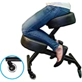 Sleekform Ergonomic Kneeling Chair for Posture - Adjustable Knee Stool for Home, Office, and Meditation - Memory/Regular Foam Cushion - Rollerblade Casters